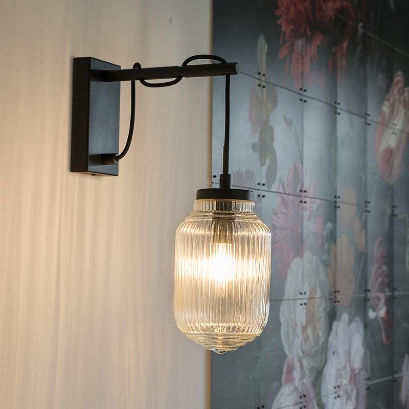 Immagine di Applique art déco nera con vetro trasparente - BOLSENA