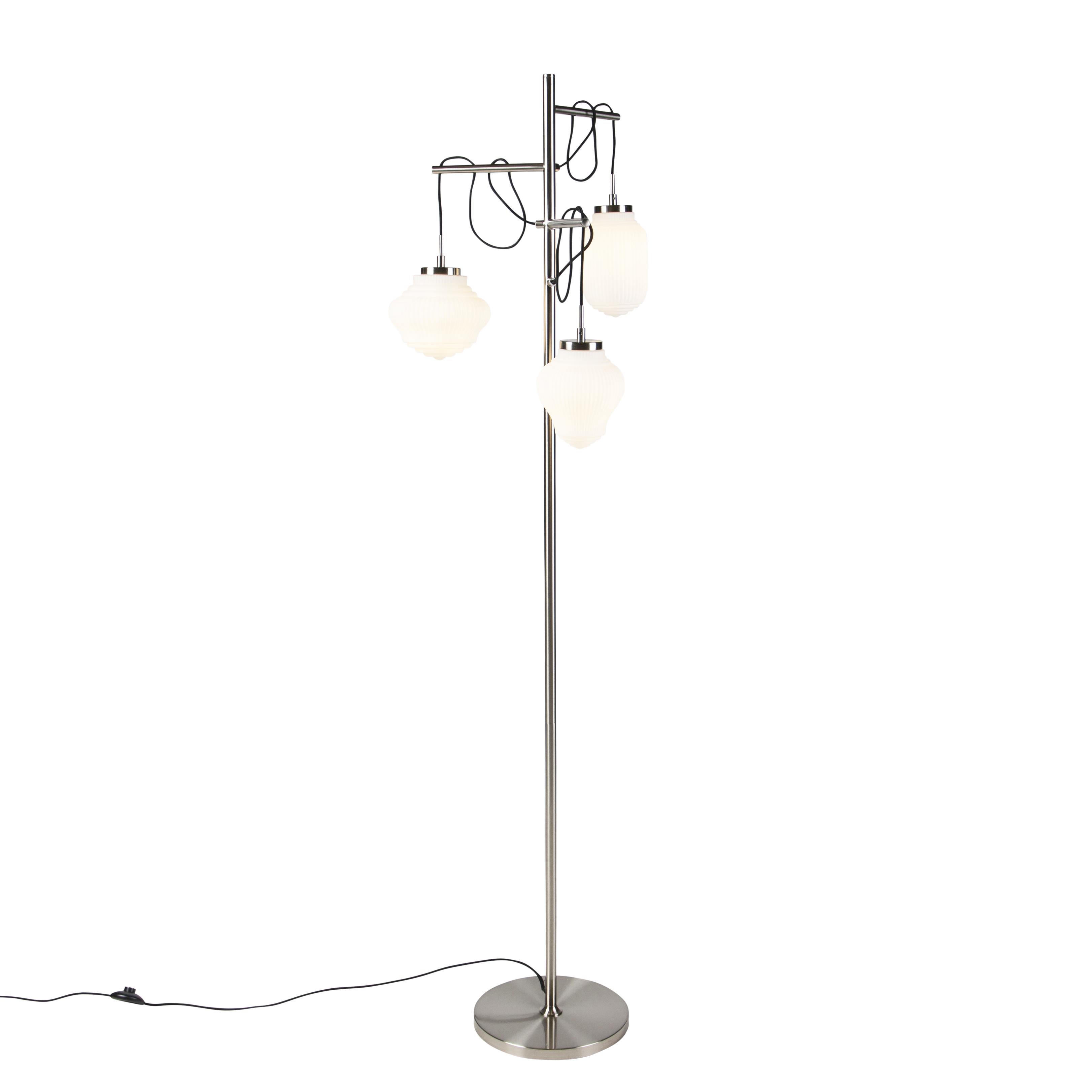 Obraz przedstawiający Art deco lampa podłogowa stal z opalizującym szkłem 3-źródła światła - Bolsena Nowoczesny Oswietlenie wewnetrzne