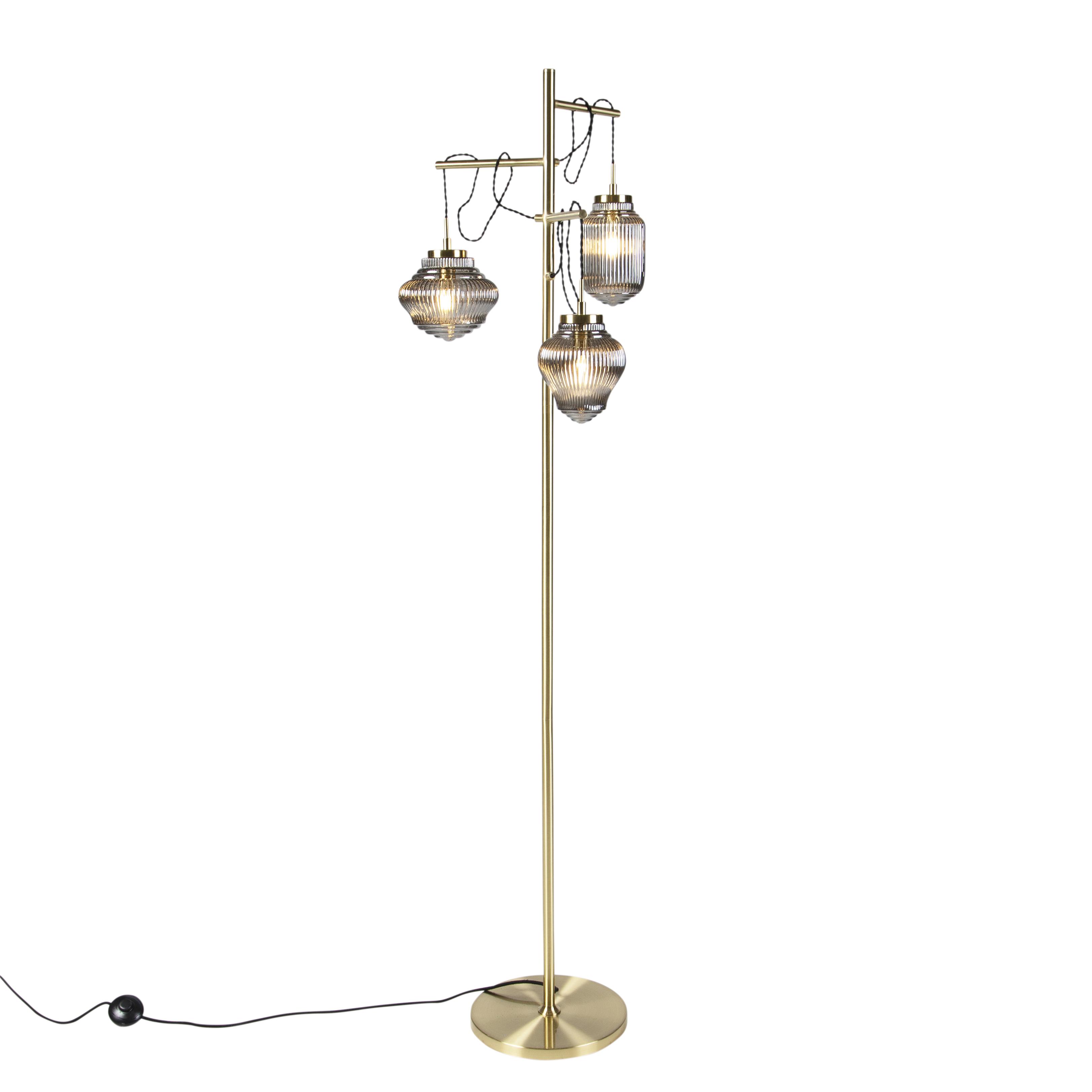 Obraz przedstawiający Art deco lampa podłogowa mosiądz z przydymionym szkłem 3-źródła światła - Bolsena Nowoczesny Oswietlenie wewnetrzne
