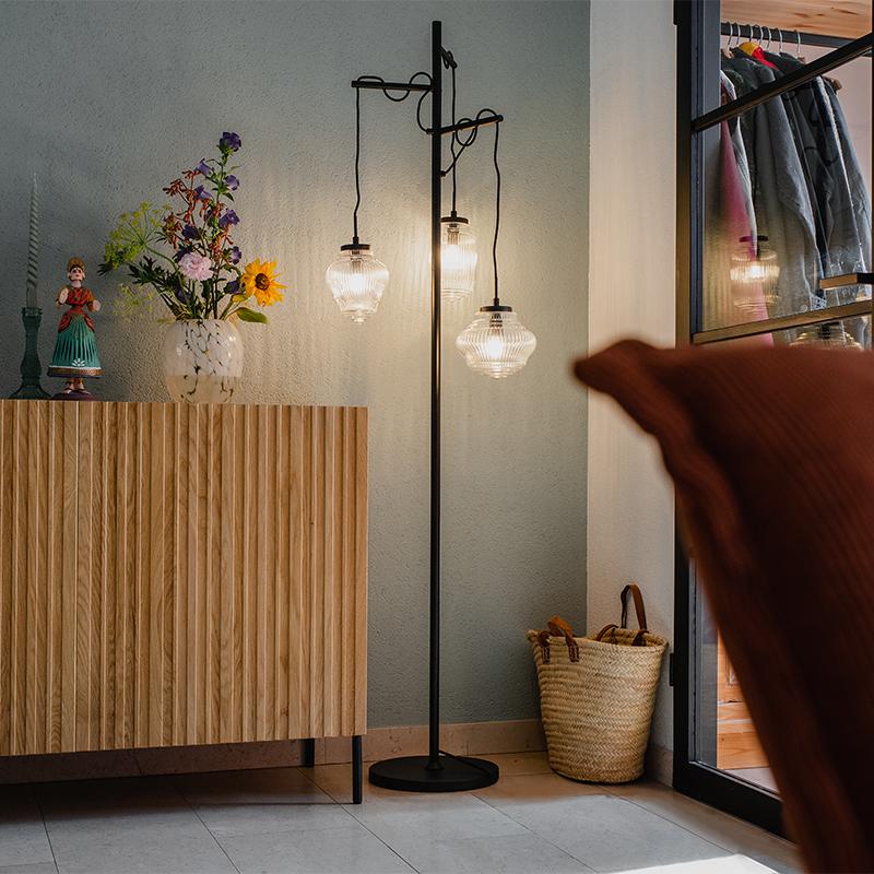 Art Deco vloerlamp zwart met helder glas 3-lichts - Bolsena