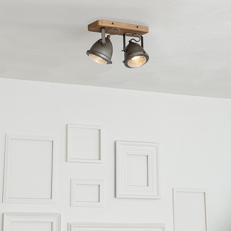 Industriële spot staal met hout kantelbaar 2-lichts - Emado