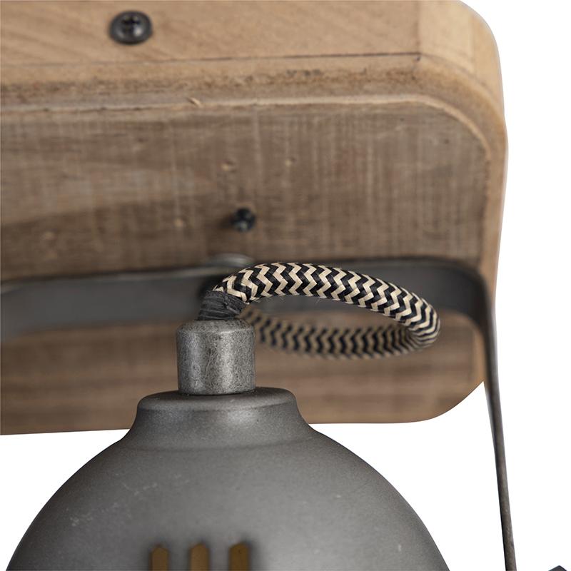 Industriële spot staal met hout kantelbaar 2 lichts Emado