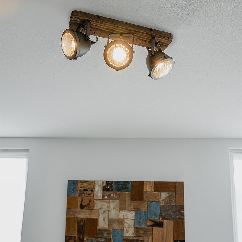 Industriële spot staal met hout kantelbaar 3-lichts - Emado