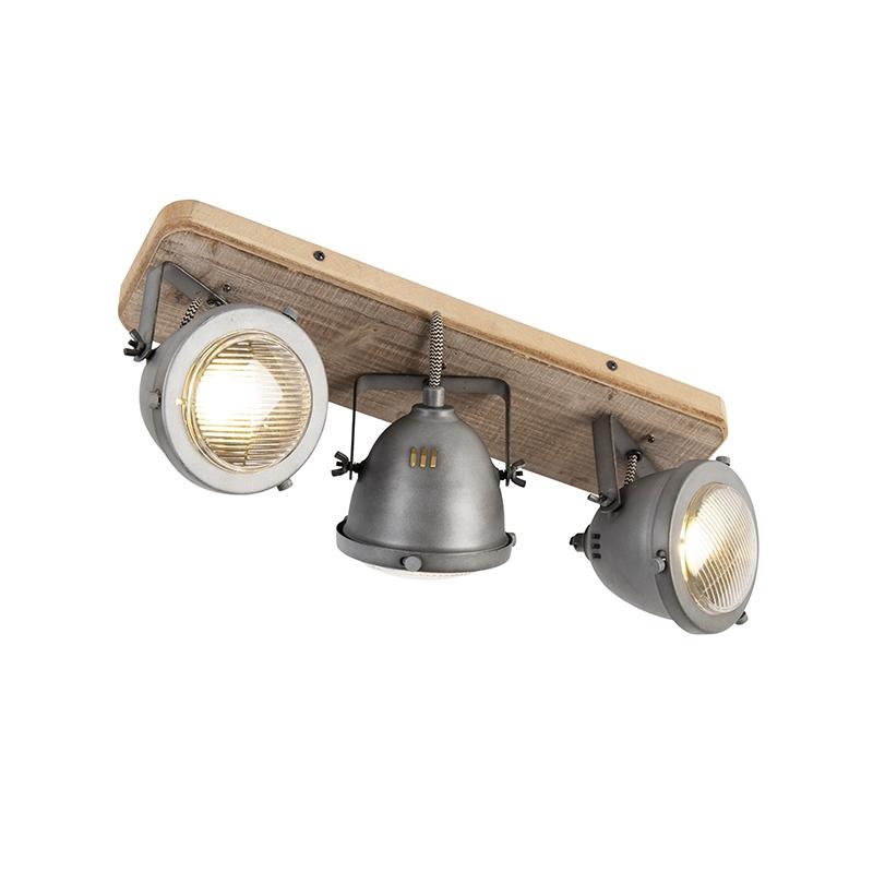 Stoere spot gebrand staal en houten plafondplaat 3-lichts - Emado