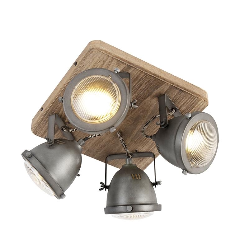 Stoere plafondspot gebrand staal en houten plafondplaat 4-lichts - Emado