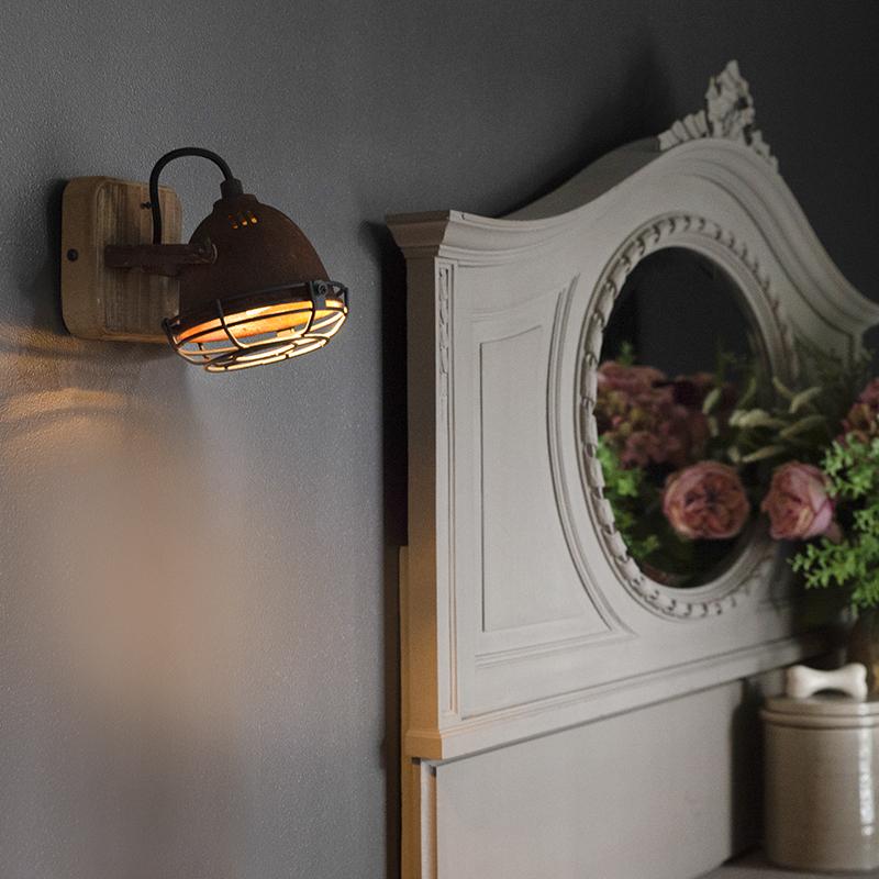 Stoere spot roest en hout-look plafondplaat - Gina