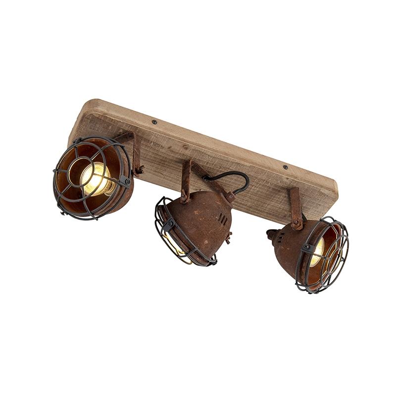 Stoere spot roest en hout-look plafondplaat 3-lichts - Gina