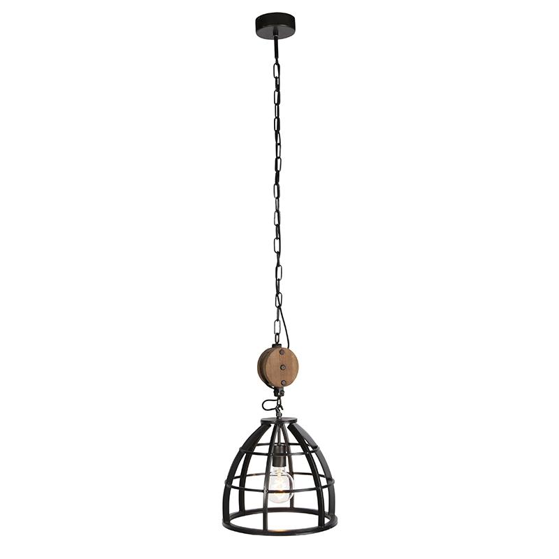 Industriële ronde hanglamp zwart staal 34,5 cm Arthur