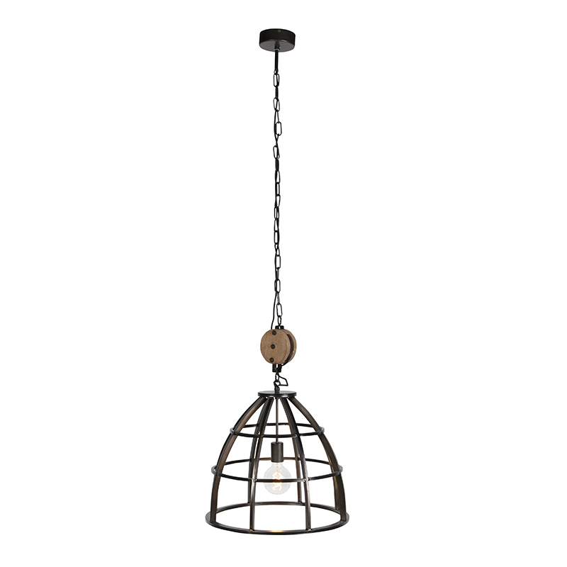 Industriele ronde hanglamp zwart staal 48cm – Arthur