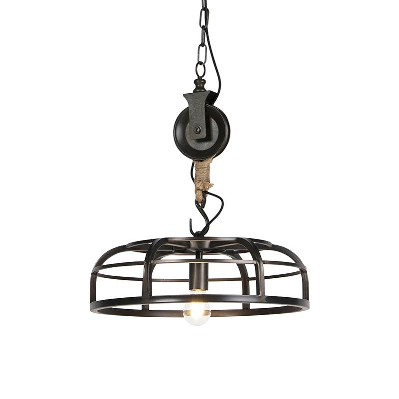 Industriele ronde hanglamp zwart staal 47cm - Camelot