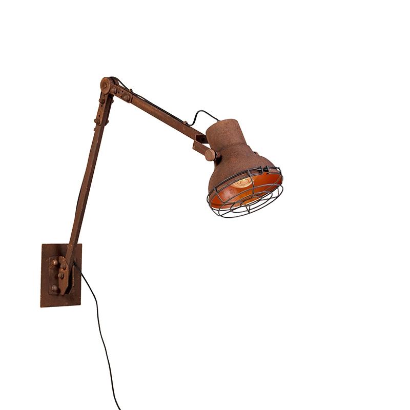 Landelijke verstelbare wandlamp roest - Rego