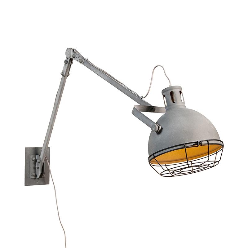 Landelijke verstelbare wandlamp betonlook - Rela