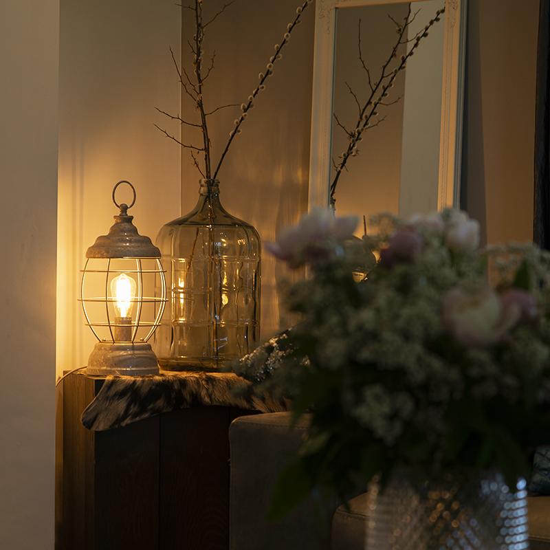 Landelijke Tafellamp Grijs - Lentera
