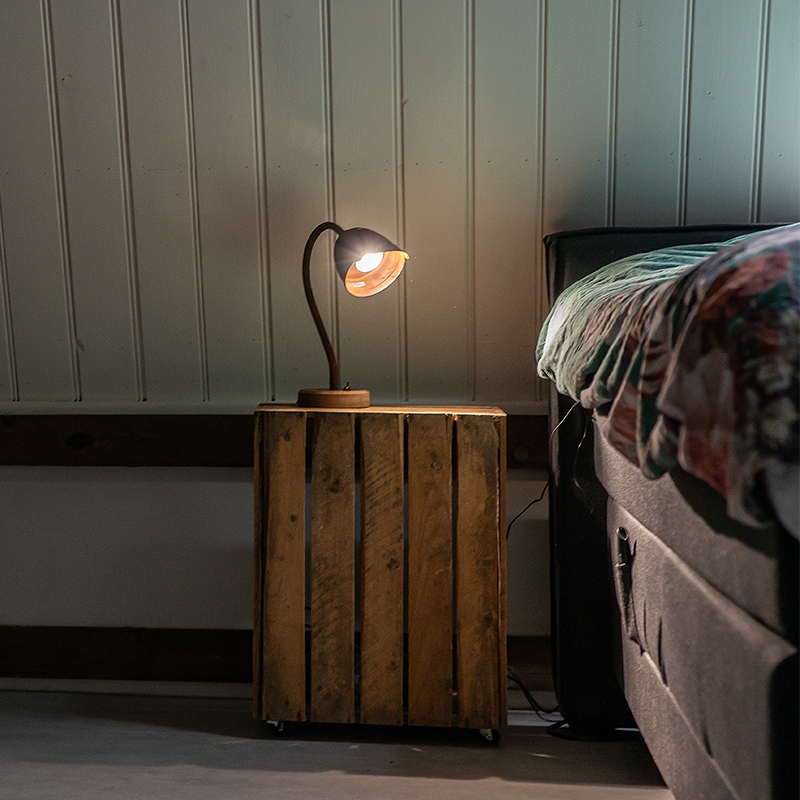 Landelijke tafellamp roestbruin - Rax