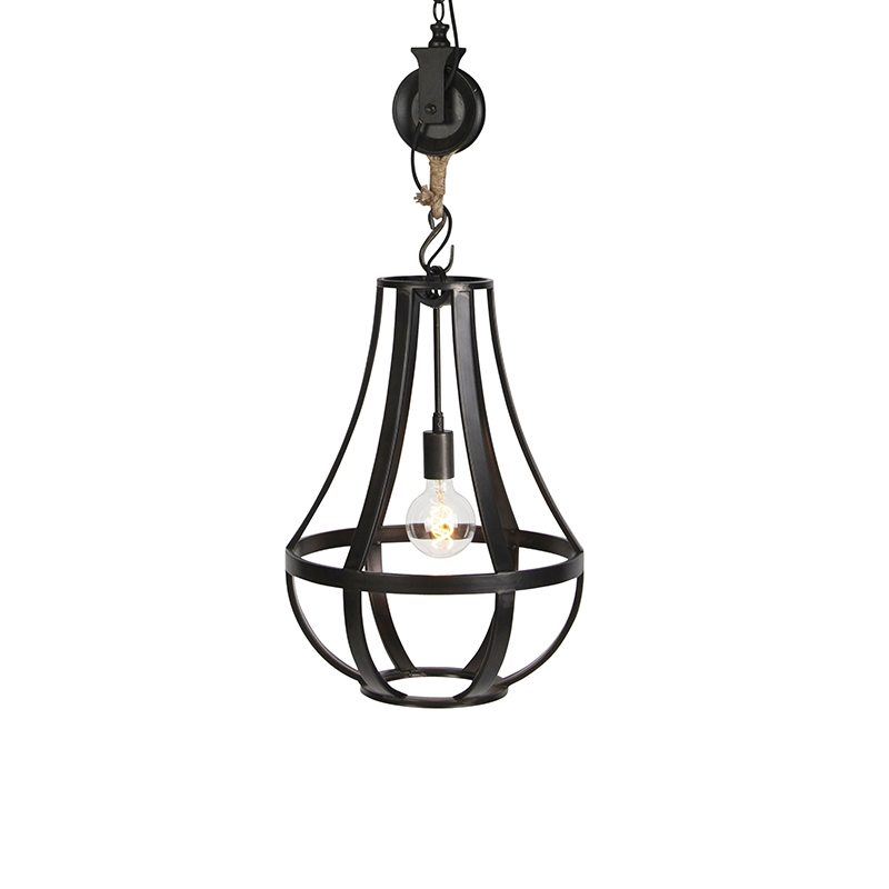 Industriele ronde hanglamp zwart 40cm - Morgana