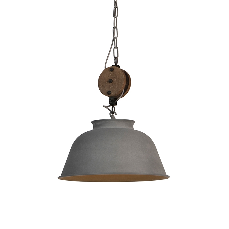 Industriele ronde hanglamp betonlook 42cm - Bax