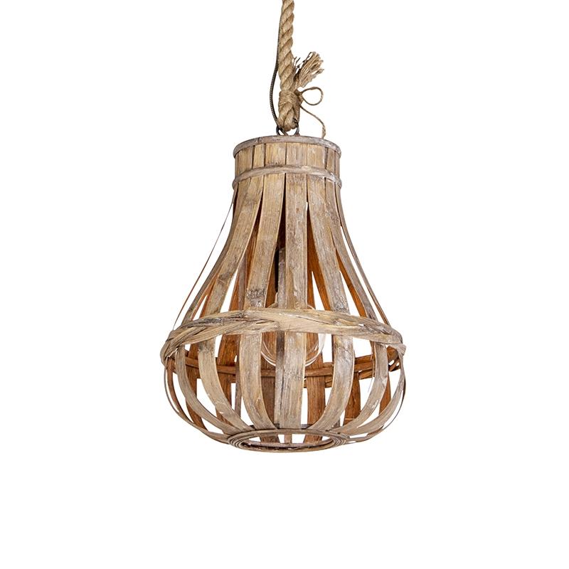Landelijke hanglamp hout met touw 34cm - Excalibur
