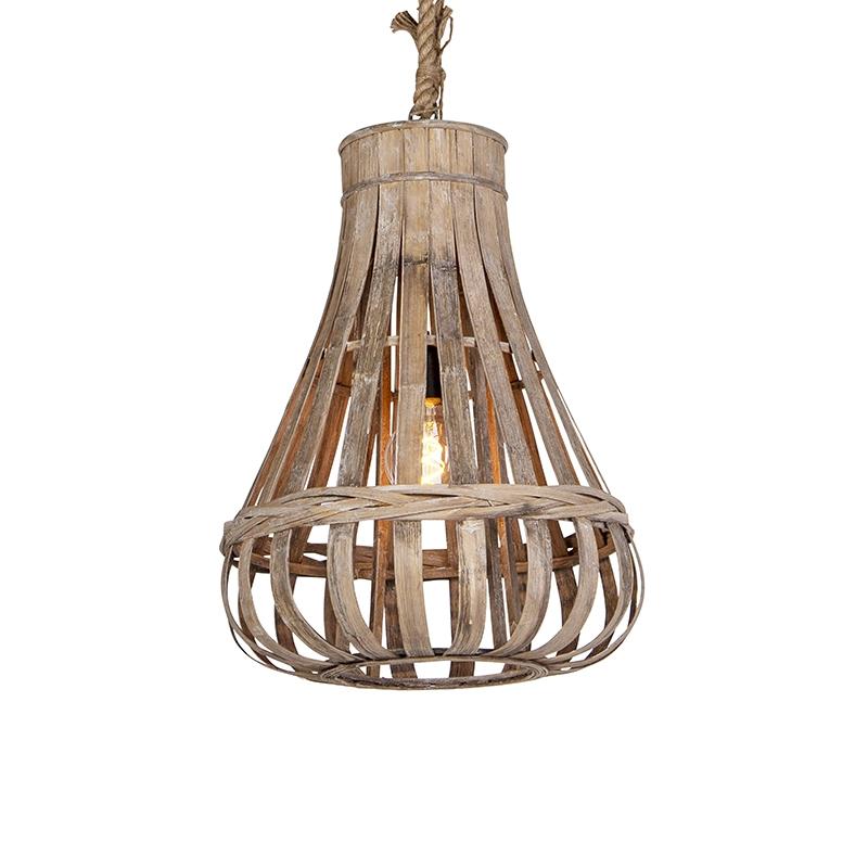 Rustykalna lampa wisząca drewno i lina 44cm - Excalibur