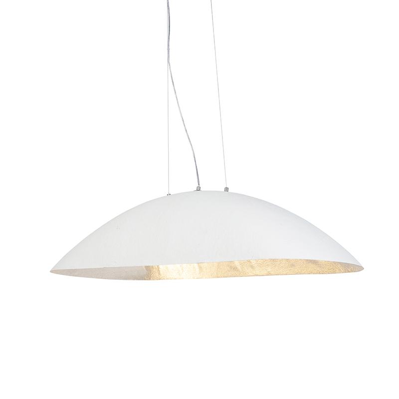 Moderne ovale hanglamp wit met zilveren binnenkant 115cm - Magna