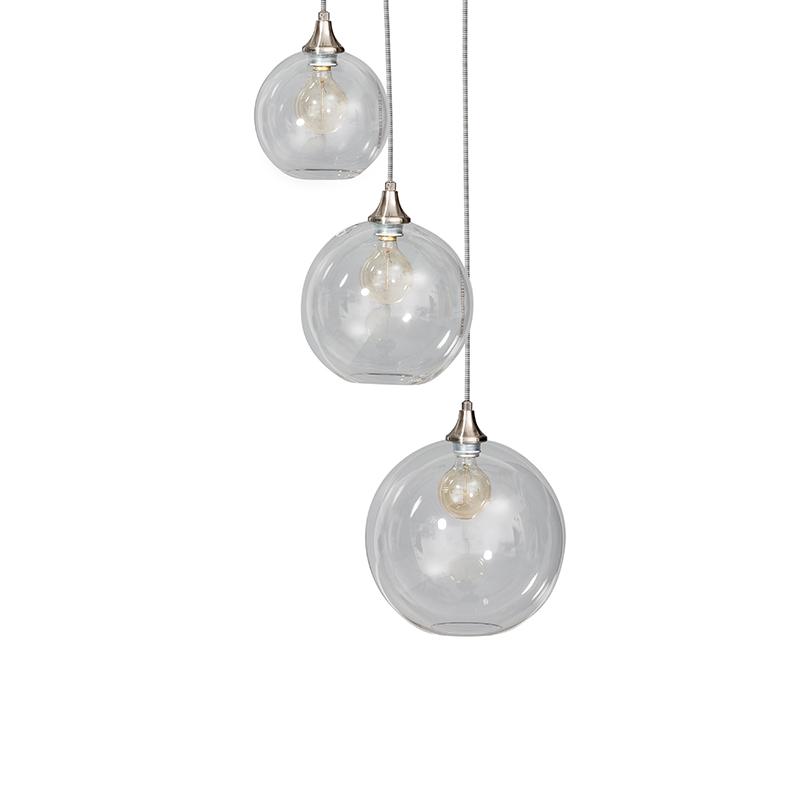 Moderne hanglamp helder glas met 3 lichtpunten - Globo