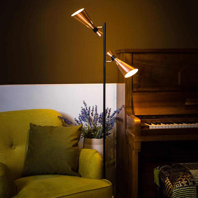 Moderne vloerlamp zwart met 2 koperen spots - Jesse