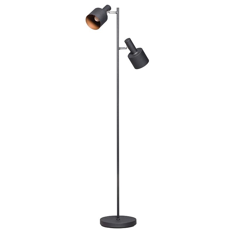 Moderne vloerlamp zwart met 2 spots - Conter