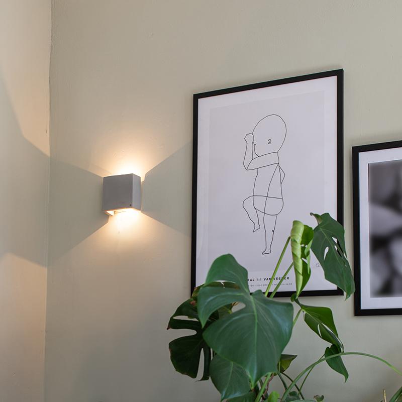 Industriële wandlamp grijs incl. LED - Caja