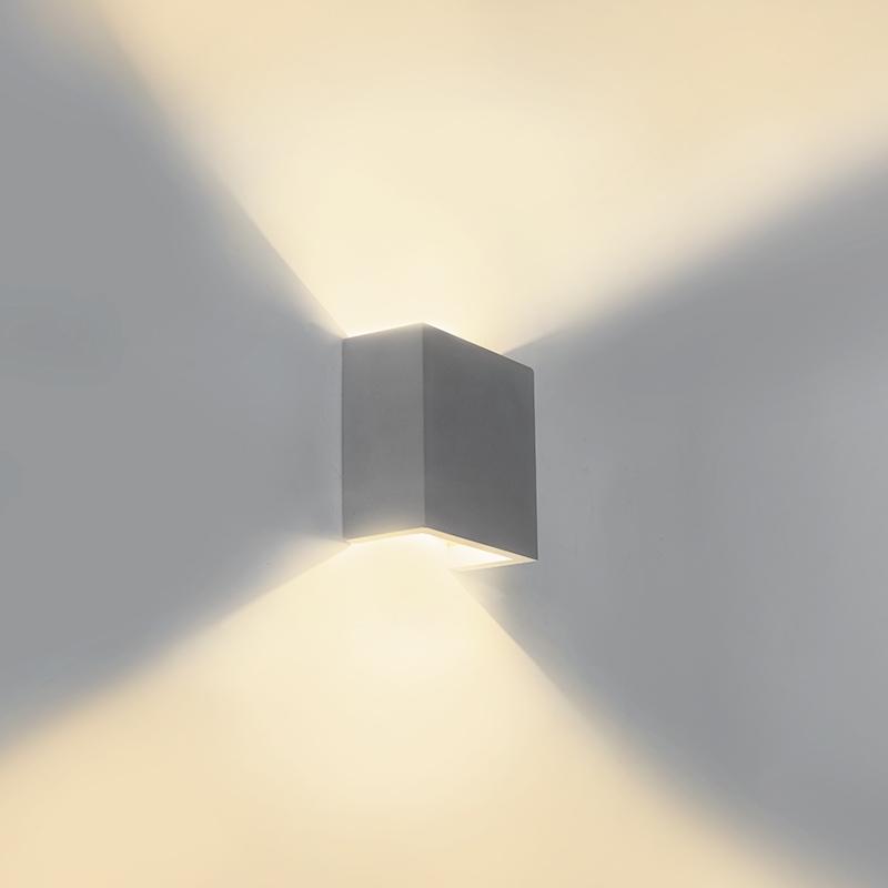 Industriele vierkante wandlamp beton incl. LED - Caja