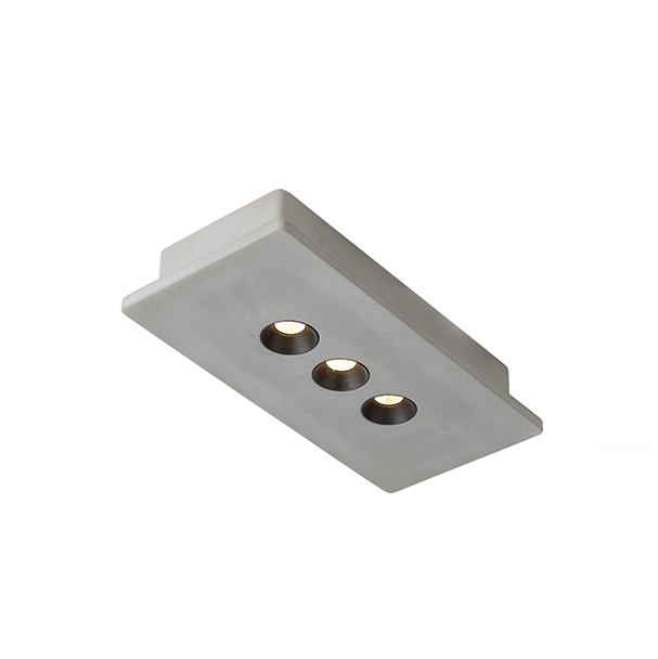 Industriele rechthoekige spot beton incl. LED 3-lichts - Talas