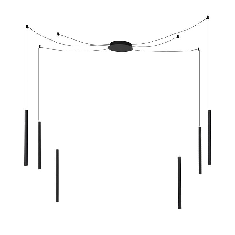 Nowoczesna lampa wisząca czarna 6-punktów świetlnych zawiera LED - Ragno
