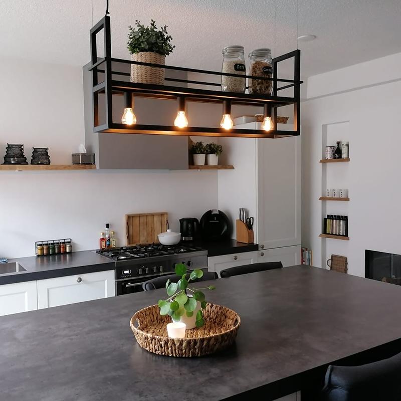 Industriële hanglamp zwart met rek 4-lichts - Cage Rack