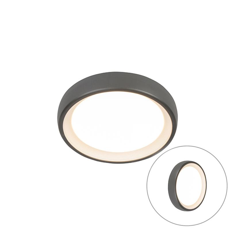 Moderne ronde buitenplafondlamp donkergrijs incl. LED - Ginny