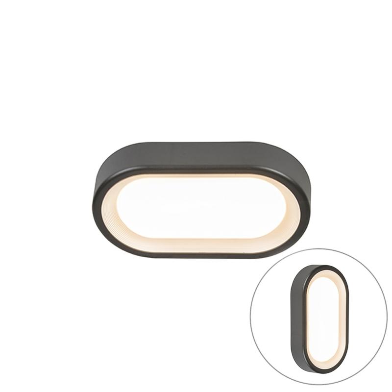Moderne ovale buitenplafondlamp donkergrijs incl. LED - Ginny