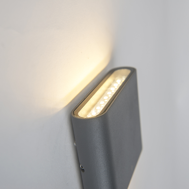 Moderne buitenwandlamp donkergrijs 11,5cm incl. LED – Batt