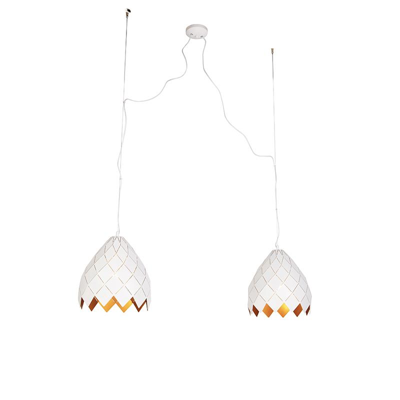 Art Deco Hanglamp Wit Met Gouden Binnenkant 2-lichts - Citrine
