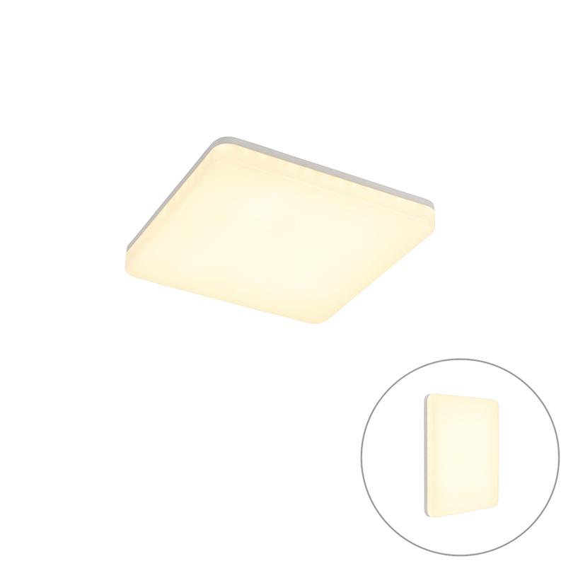 Moderne vierkante plafondlamp wit incl. LED - Plater