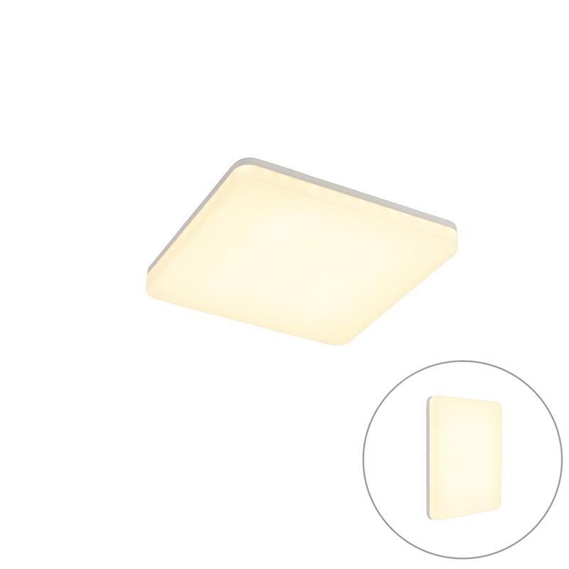 Plafondlamp wit vierkant incl. LED en bewegingsmelder - Plater