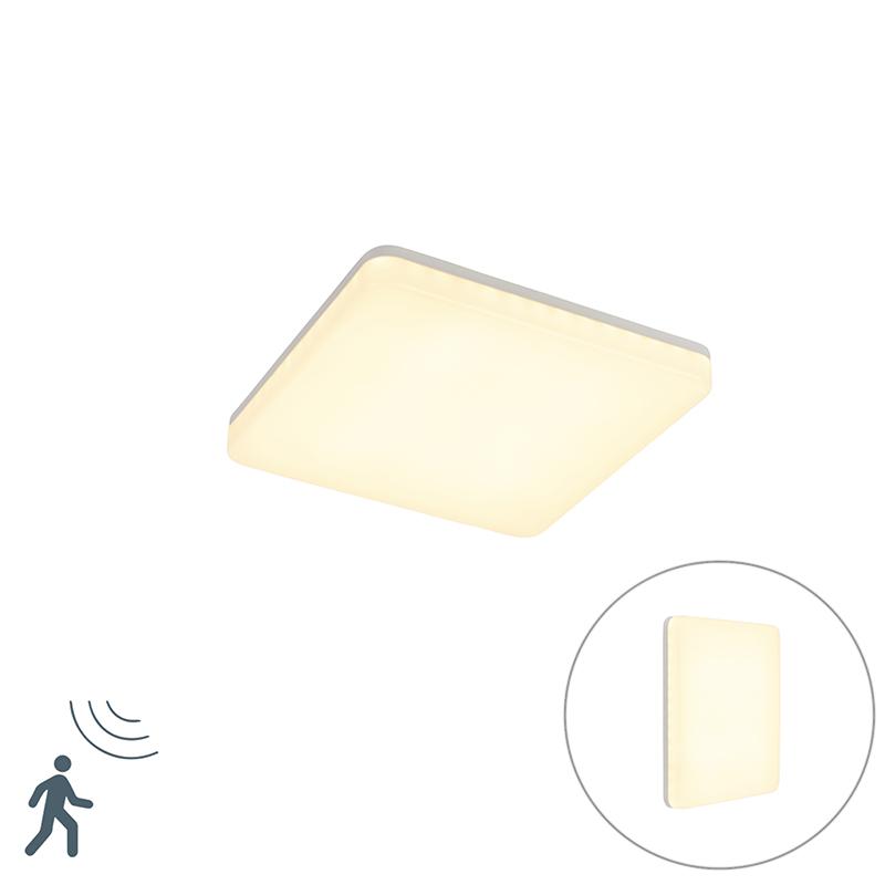 Moderne vierkante plafondlamp wit incl. LED met bewegingsmelder - Plater