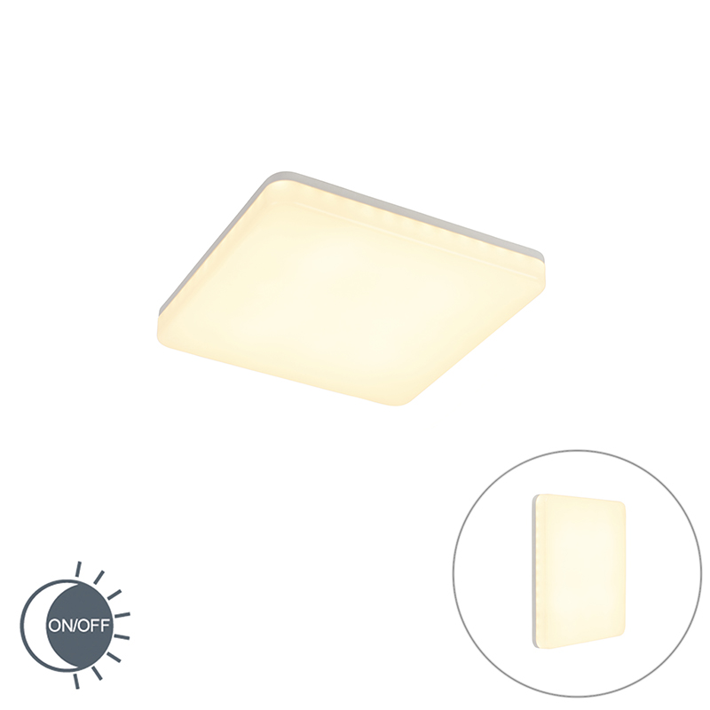 Moderne Vierkante Plafondlamp Wit Incl. Led Met Licht-sensor - Plater