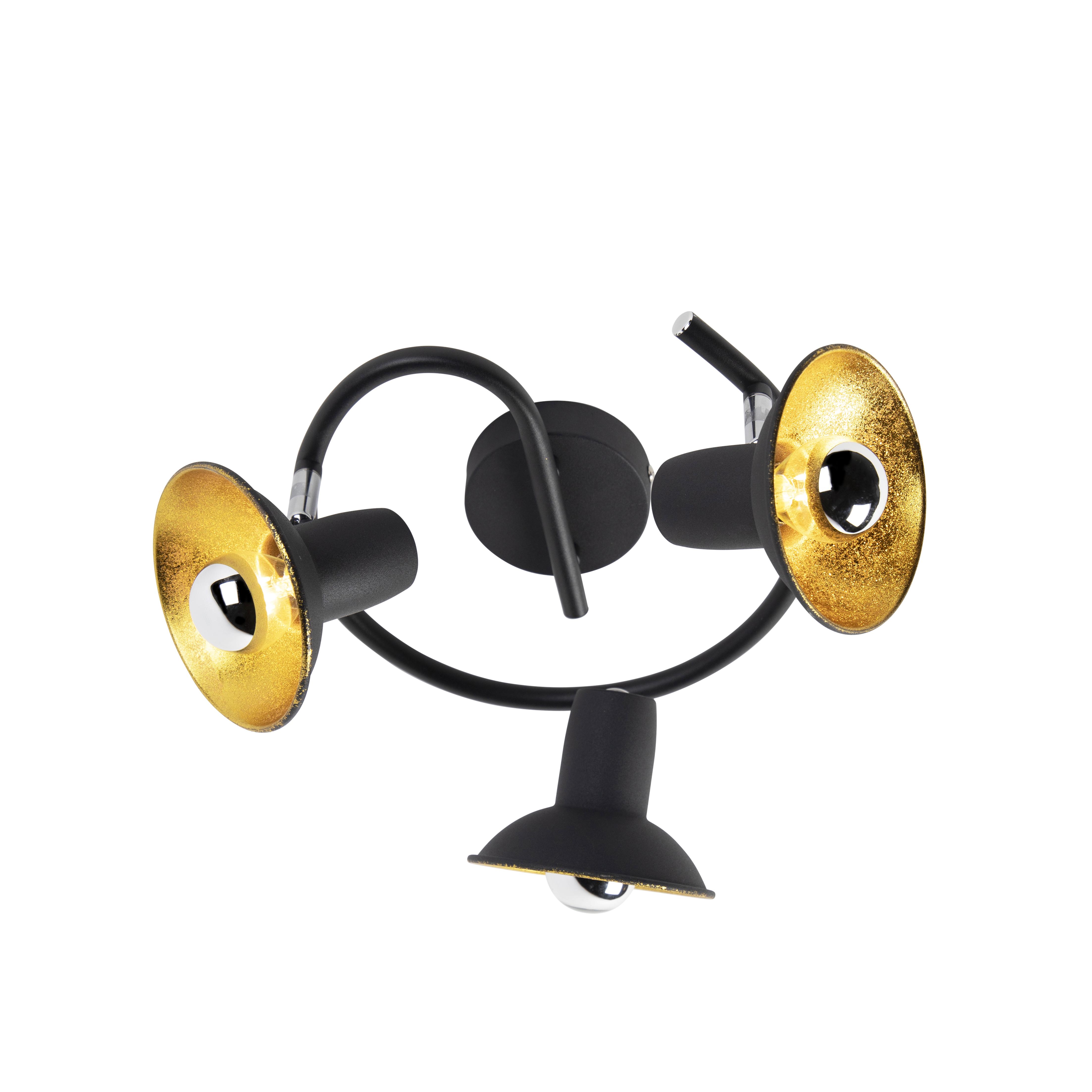 Industriele ronde spot zwart met goud met 3 lichtpunten - Avril