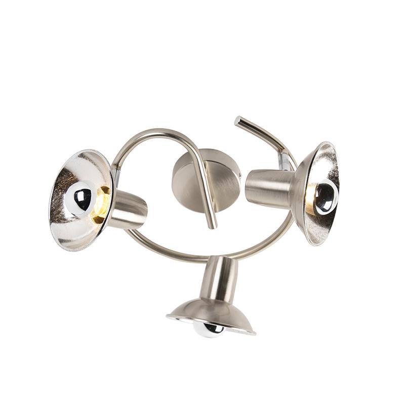 Industriele ronde spot staal met zilver met 3 lichtpunten - Avril