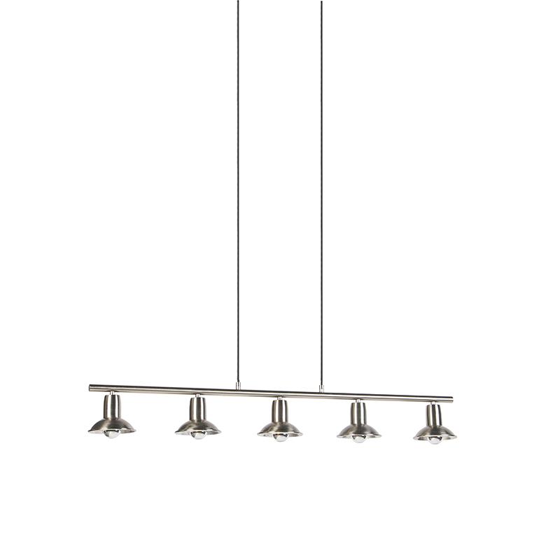Industriele Hanglamp Staal Met Zilver Met 5 Lichtpunten - Avril