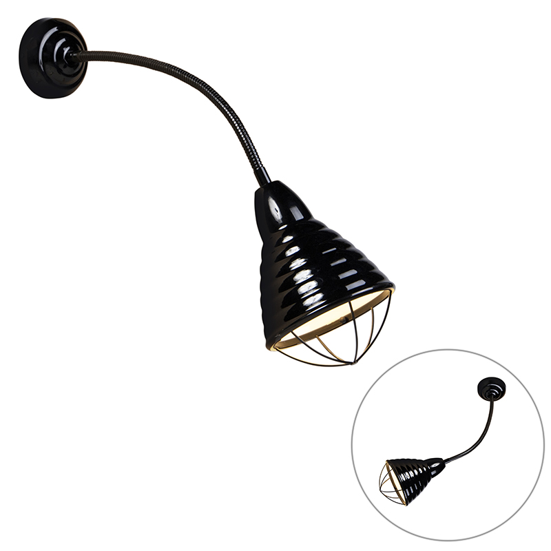 Industriele wandlamp zwart met flexarm - Manhattan