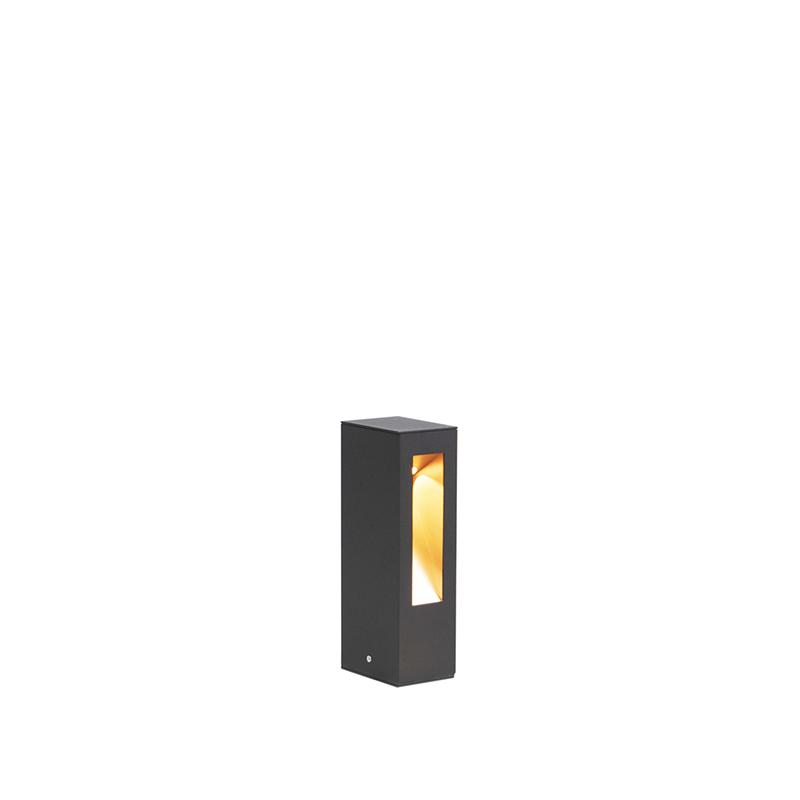 Moderne Staande Buitenlamp Led Zwart Met Gouden Binnenkant 25cm - Intorus