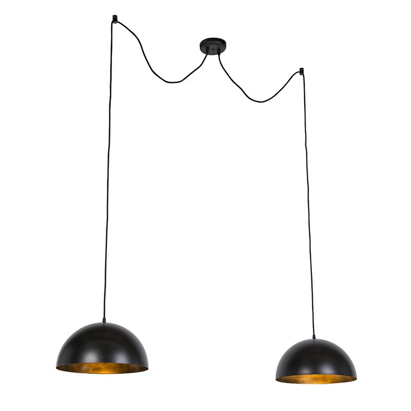 Przemysłowe lampy wiszące czarne ze złotem 35 cm 2-oświetlenie - Magna Basic