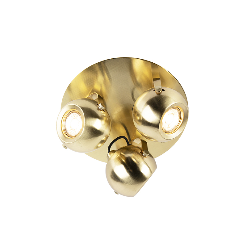 Afbeelding van Art Deco bolle verstelbare Spot / Opbouwspot / Plafondspot 3-lichts mat goud - Watcher Art Deco, Retro rond Binnenverlichting