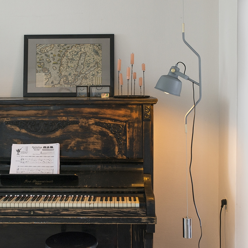 Moderne hanglamp grijs in hoogte verstelbaar - Contra