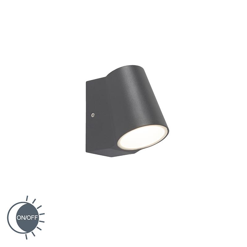 Moderne buitenwandlamp donkergrijs met licht-donker sensor incl. LED - Uma