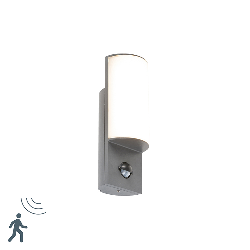 Moderne buitenwandlamp donkergrijs met bewegingsmelder incl. LED - Harry