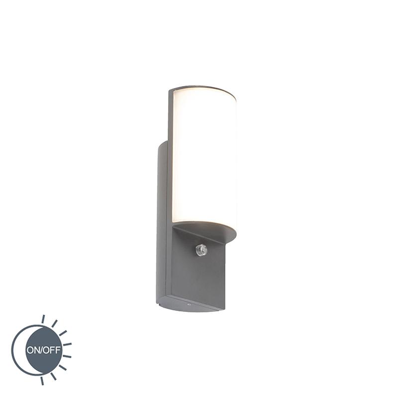 Moderne Buitenwandlamp Donkergrijs Met Licht-donker Sensor Incl. Led - Harry